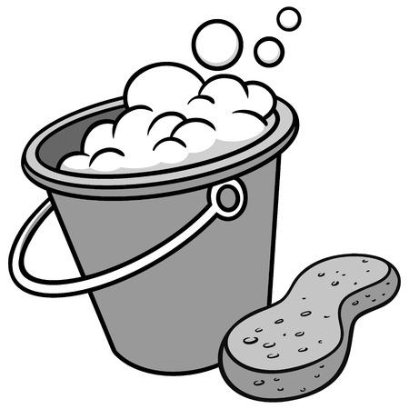 Car Wash Bucket and Sponge Illustration - A vector cartoon illustration of a Car Wash Bucket and a Sponge.