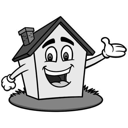 Cartoon House Illustration - A vector cartoon illustration of a House waving.