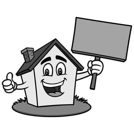 Cartoon House with Sign Illustration - A vector cartoon illustration of a house holding a blank sign. Фото со стока - 93773567