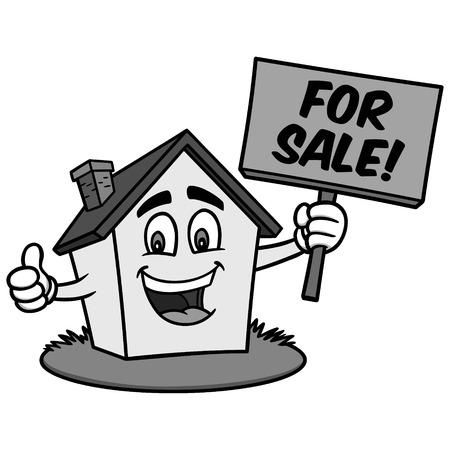 만화 집 판매 그림 - 판매를위한 기호를 들고 집의 벡터 만화 일러스트 레이 션. 일러스트