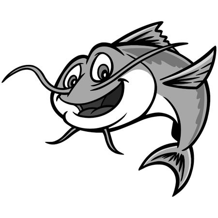 Catfish illustration - Een cartoon vectorillustratie van een meerval restaurant mascotte.