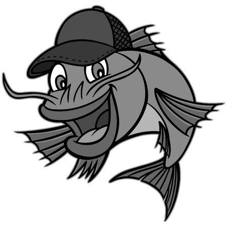 Catfish mascot illustration - Een cartoon vectorillustratie van een meerval restaurant mascotte. Stock Illustratie