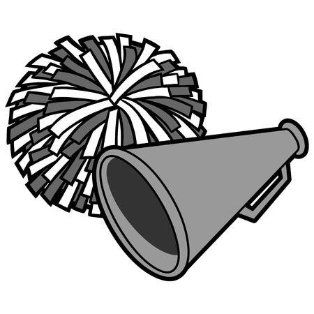Cheerleading Icon Illustration - Eine Vektor-Cartoon-Illustration einer Cheerleading-Ikone.