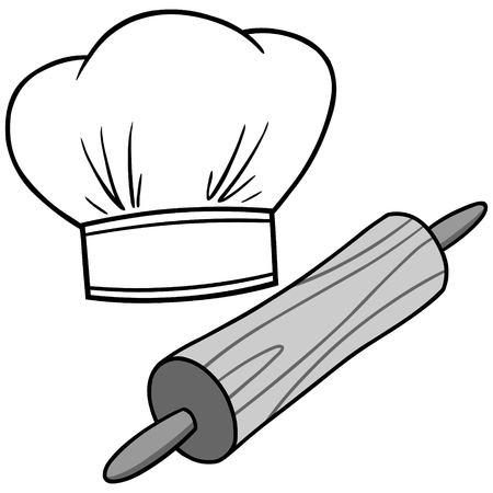 Een vectorbeeldverhaalillustratie van een Chef-kokhoed en een Deegrol. Stock Illustratie