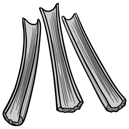 Celery Sticks Illustration - A vector cartoon illustration of some Celery Sticks.