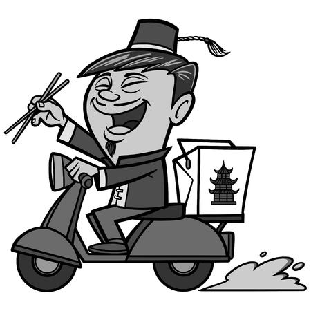 Chinese delivery illustration, a vector cartoon illustration of a Chinese delivery concept.
