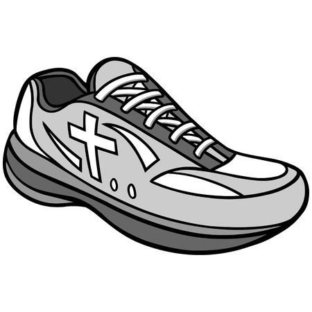 Christian Track Illustration - A vector cartoon illustration of a Christian Track running shoe. Çizim
