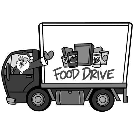Christmas Food Drive Illustration Een cartoon vectorillustratie van een Christmas Food Drive-concept.