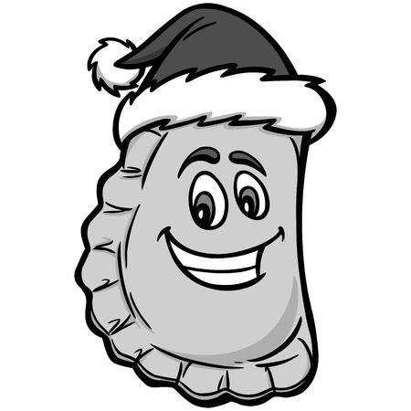Christmas Pierogi Illustration. A vector cartoon illustration of a Christmas Pierogi.