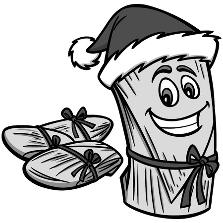 Christmas Tamales Illustration - A vector cartoon illustration of a Tamale with a Christmas hat.