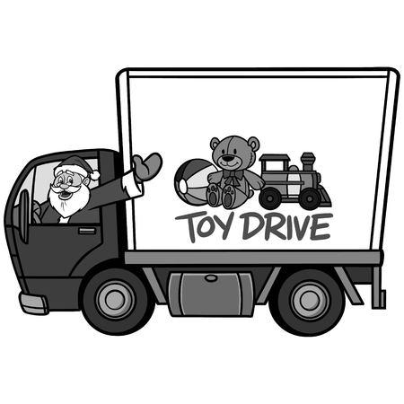 Kerst speelgoed rijden illustratie. Een vectorbeeldverhaalillustratie van een Kerstmisstuk speelgoed aandrijvingsconcept.