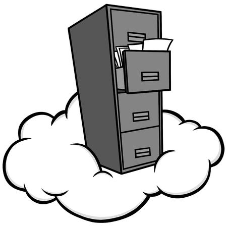 구름 저장소 그림 구름 저장소 개념의 벡터 만화 일러스트 레이 션. 일러스트