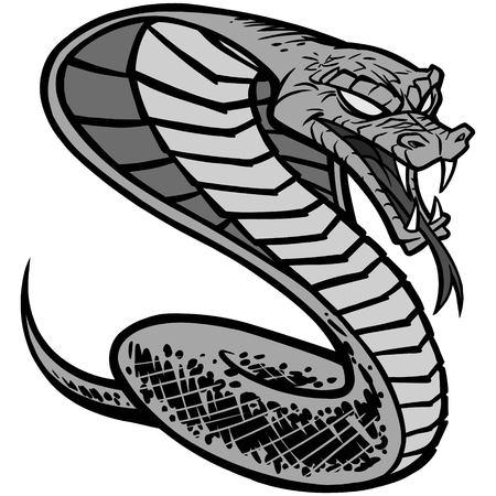 Cobra tattoo illustration - A vector cartoon illustration of a cobra tattoo.