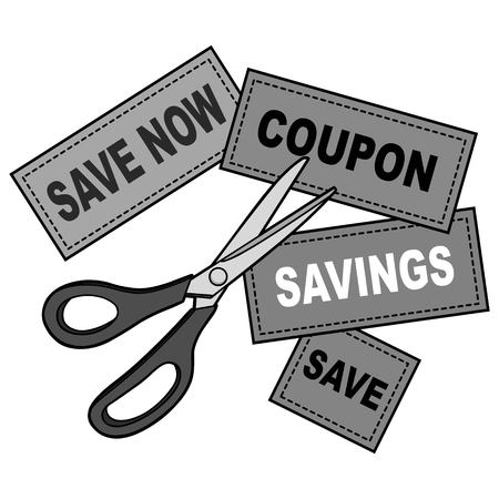 Coupon Cutter Illustration - A vector cartoon illustration of a Coupon Cutter concept.
