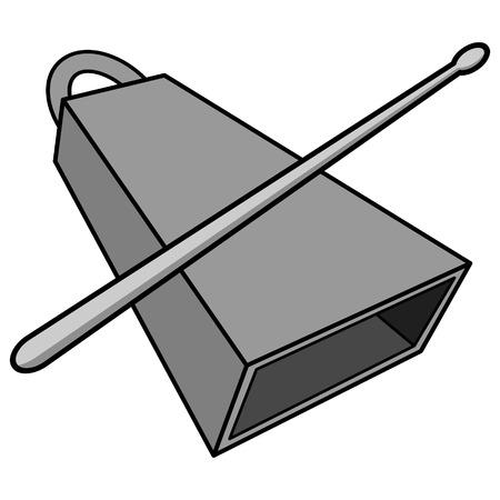 Illustrazione di Cowbell e Drumstick Una illustrazione fumetto vettoriale di un Cowbell e Drumstick. Archivio Fotografico - 94395768