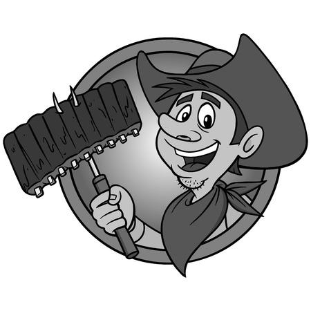 Cowboy BBQ Illustration - A vector cartoon illustration of a Cowboy mascot icon. Illustration