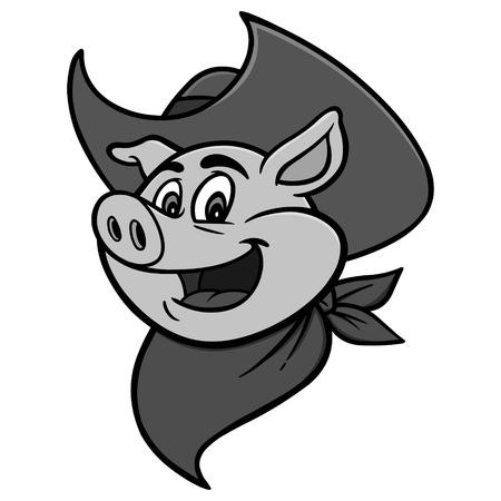 Cowboy BBQ Pig Illustration - A vector cartoon illustration of a Cowboy BBQ Pig.