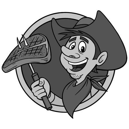 Cowboy avec illustration de steak Banque d'images - 94613354