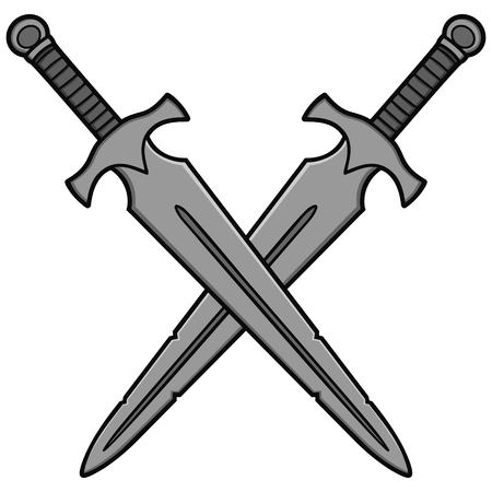 Crossed Broadswords Illustration - A vector cartoon illustration of a couple of Crossed Broadswords. Illusztráció