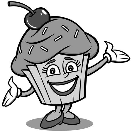 Cupcake Mascot Illustration - A vector cartoon illustration of a Cupcake Mascot.