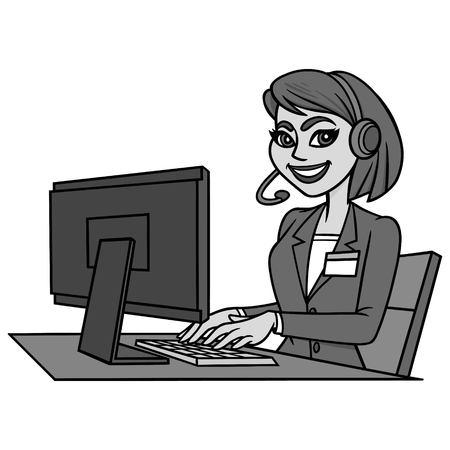 Customer Service Illustration - A vector cartoon illustration of a Customer Service worker.