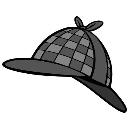 Detective Hat Illustration - A vector cartoon illustration of a Private Detective Hat.