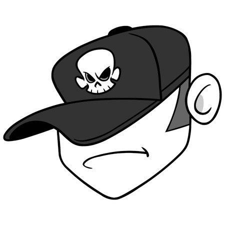 DJ悪いお尻のイラスト - ディスクジョッキーミュージシャンのベクトル漫画のイラスト。  イラスト・ベクター素材