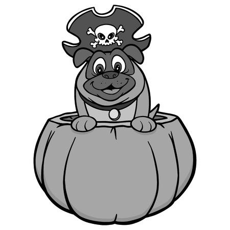 Dog and pumpkin illustration - a vector cartoon illustration of a dog in a pumpkin with a pirate hat. Illustration
