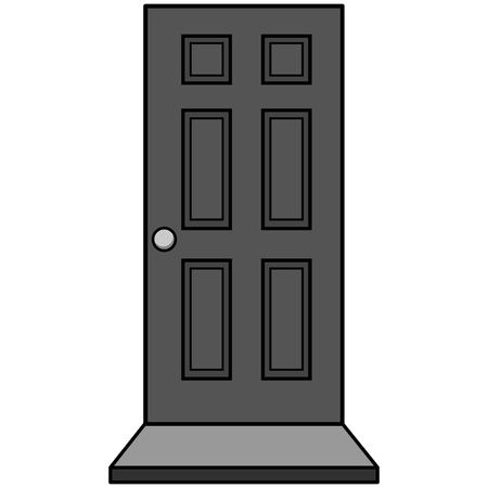 Door with Door Mat Illustration - A vector cartoon illustration of a Door with Door Mat.