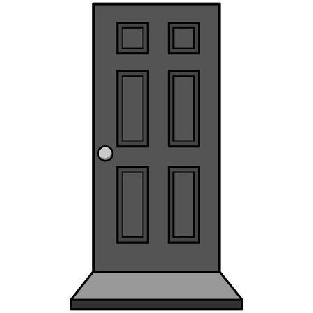 Door with Door Mat Illustration - A vector cartoon illustration of a Door with Door Mat. Reklamní fotografie - 95012739