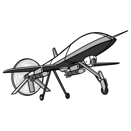 Drone Illustration - A vector cartoon illustration of a military Drone.  イラスト・ベクター素材