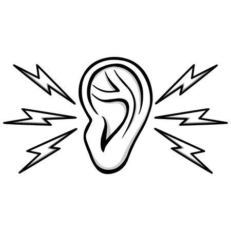 Earache Illustration - A vector cartoon illustration of a Earache concept. 일러스트