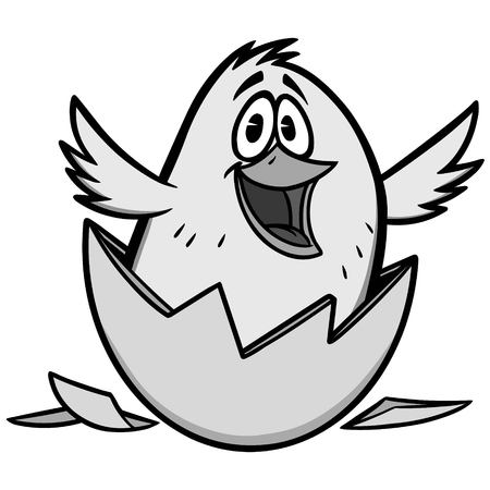 Easter Chick Illustration - A vector cartoon illustration of a Chick breaking out of a shell. Çizim