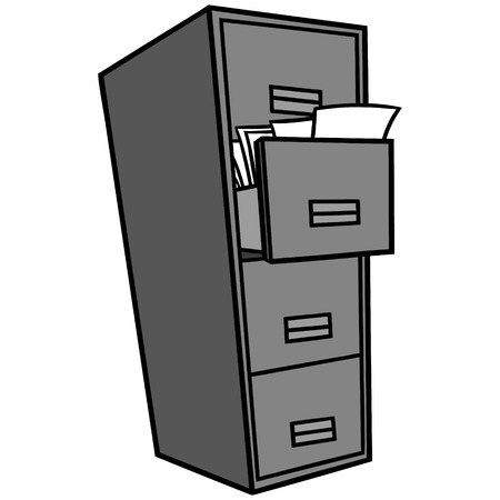 Filing Cabinet Illustration - A vector cartoon illustration of a office Filing Cabinet.