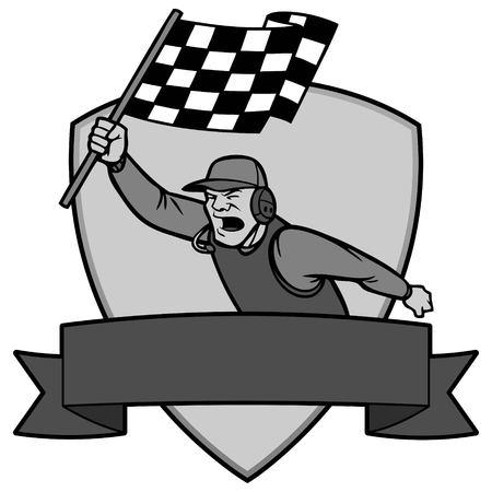 Finish Line Insignia Illustration - A vector cartoon illustration of a race car Finish Line Insignia concept.