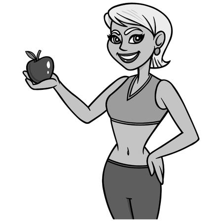 Fit Lady with Apple Illustration - A vector cartoon illustration of a Fit Lady with an Apple.