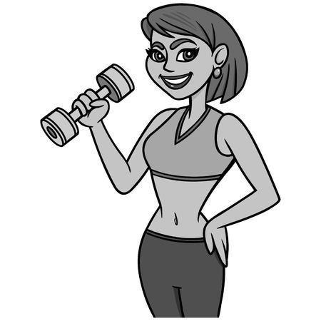 Fit Lady with Dumbbell Illustration - A vector cartoon illustration of a Fit Lady with a Dumbbell.