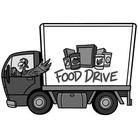 Food Drive Illustration - A vector cartoon illustration of a Food Drive concept. Stock Illustratie
