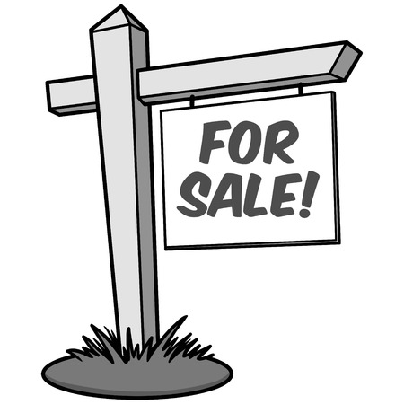For Sale Illustration - A vector cartoon illustration of a For Sale sign.
