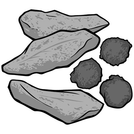 Fried Fish and Hushpuppies Illustration - A vector cartoon illustration of some Fried Fish and Hushpuppies.