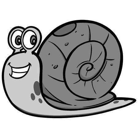A vector cartoon illustration of a Garden Snail mascot. Çizim