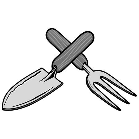 A vector cartoon illustration of a few Garden Tools.
