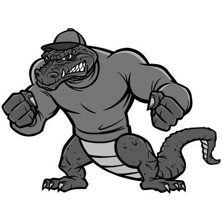 Gator Mascot Extreme Illustration - A vector cartoon illustration of a sports team Gator Mascot. Stock Illustratie
