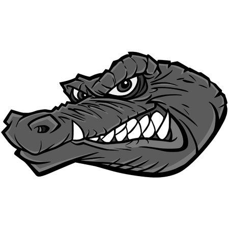 Gator Mascot Illustration - A vector cartoon illustration of a sports team Gator Mascot. Çizim