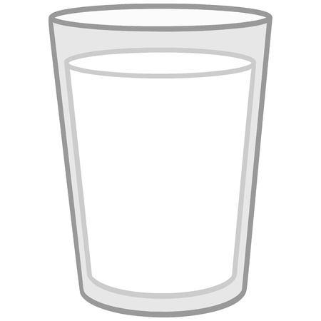 Glass of Milk Illustration - A vector cartoon illustration of a Glass of Milk.