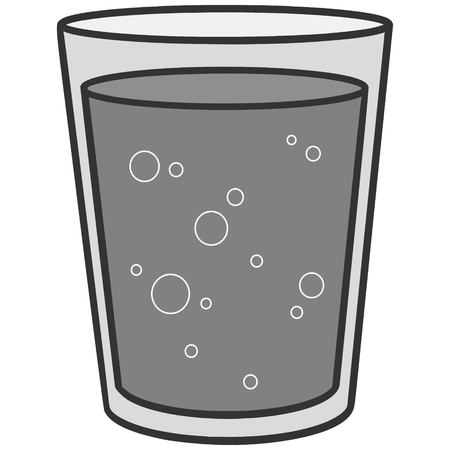 Glass of Water Illustration - A vector cartoon illustration of a Glass of Water.