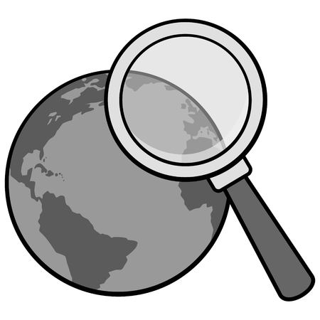Global research illustration - a vector cartoon illustration.