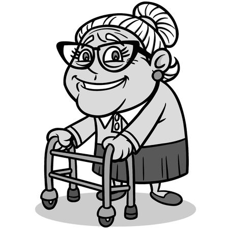 Grandma Illustration - A vector cartoon illustration of a Grandma with a walker. Ilustração