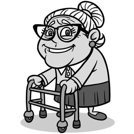Grandma Illustration - A vector cartoon illustration of a Grandma with a walker. Иллюстрация