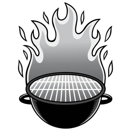 Cartoon illustration of a backyard flaming Grill.